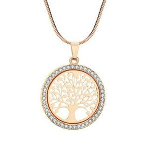 Gold Cubic Zirconia Round Family Tree Necklace
